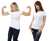 Young women with blank white shirts — Stock Photo
