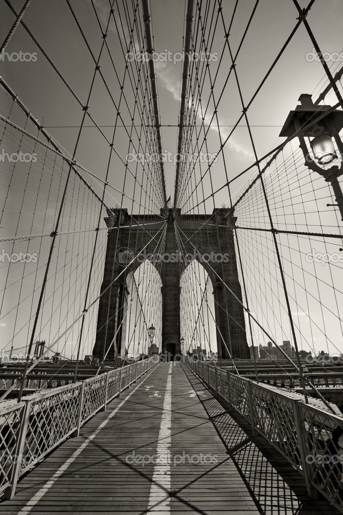 Photo of the Brooklyn Bridge in New York city done in black and white.    #4135817