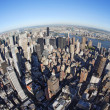 New York cityscape with fisheye - Stock Photo