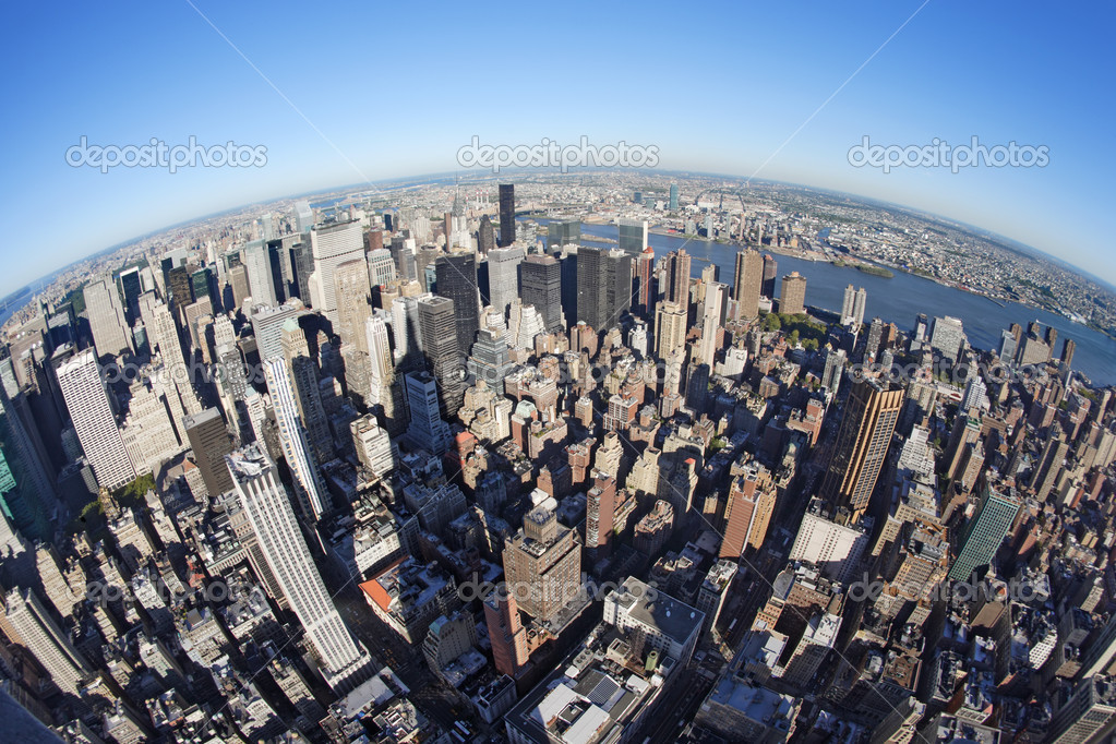 Photo of New York city taken from the Empire State Building with a fisheye lens.  Stock Photo #4169030