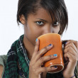 Stock Photo: Beautiful female drinking coffee