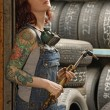 Stockfoto: Female welder with tattoos