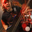 Heavy metal bass guitar player — Stock Photo