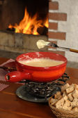 Swiss fondue dinner — Stock Photo