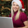 christmas shopping online — Stock Photo