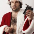 Drunk Santa Claus - Stock Photo