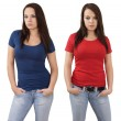 Female with blank red and blue shirts — Stock Photo