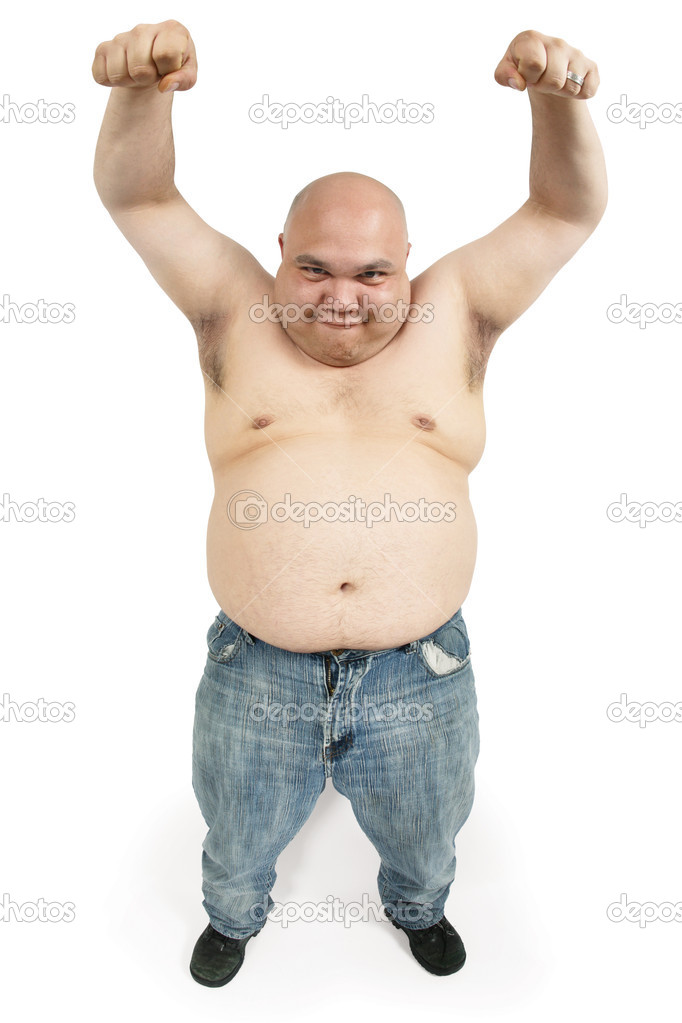 A large bald man with his hands up in the air making an odd face. — Stock Photo #4605343