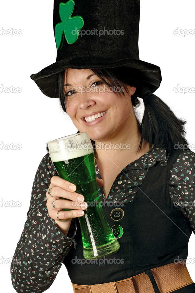 Pretty female with pigtails and hat drinking a tall glass of green beer on St. Patricks Day. — Stock Photo #4607461