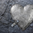 Galvanized metal heart - Stock Photo