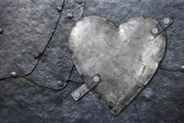 Galvanized metal heart — Stock Photo