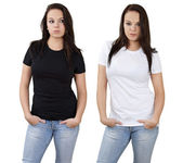 Female and blank white and black shirts — Stock Photo