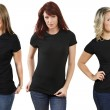 Young women with blank black shirts — Stock Photo #4774867