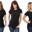 Young women with blank black shirts — Stock Photo