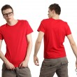 Male wearing blank red shirt — Stock Photo