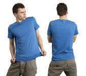Male wearing blank blue shirt — Stock Photo