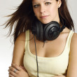 Female teenager with headphones — Stock Photo