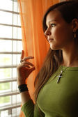 Looking out the window — Stock Photo
