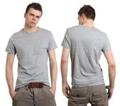 Male wearing blank gray shirt — Stock Photo