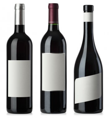 Red wine blank bottles with labels