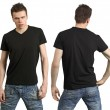 Teenager with blank black shirt — Stock Photo