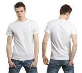 Teenager with blank white shirt — Stockfoto