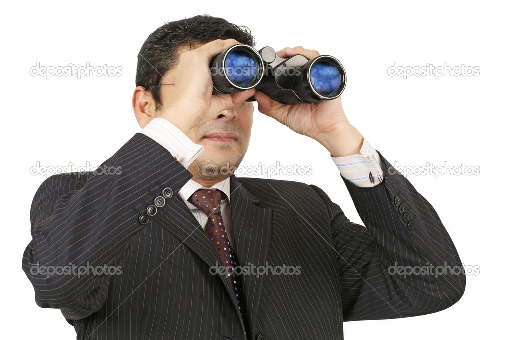 An Indian businessman in his late thirties looking through binoculars. — Stok fotoğraf #5284998