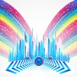 City with colorful rainbow — Stock Vector #4697009