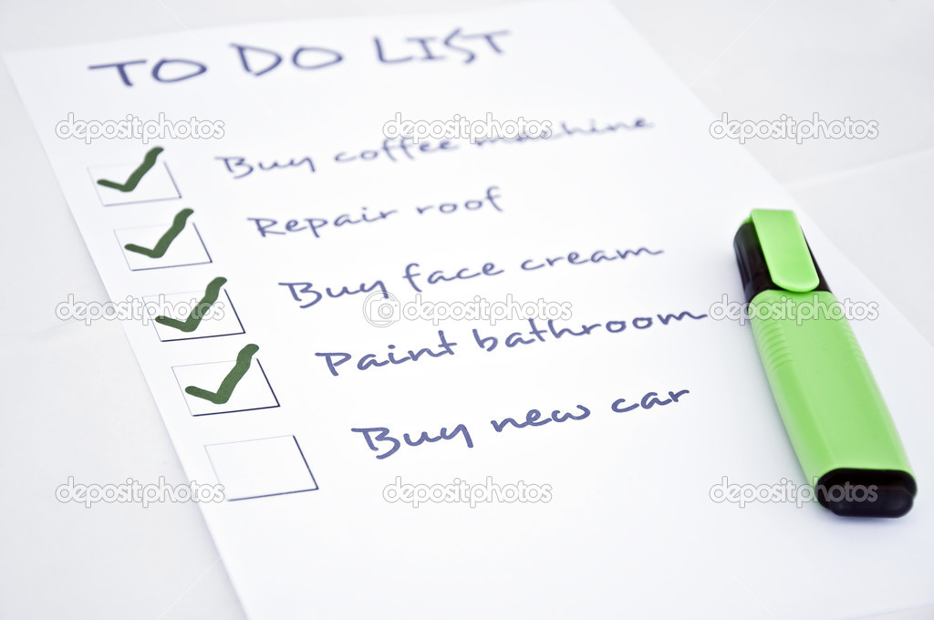 To do list with  buy new car — Stock Photo #4405123