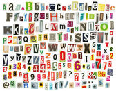Newspaper alphabet — Stock Photo
