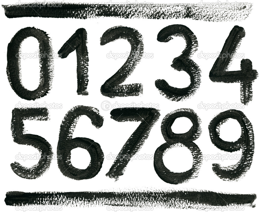 Hand drawn ABC numbers set, isolated. — Stock Photo #4619500