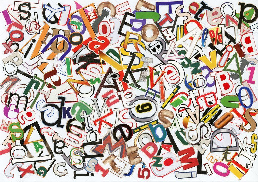 手工制作字母拼贴画的杂志字母– 图库图片