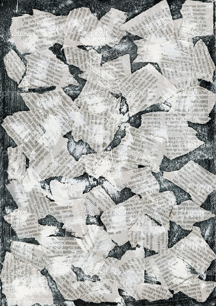 Grunge collage background made of torn newspaper — Stock Photo #4892738