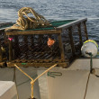 Lobster trap on a boat — Stock Photo