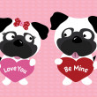 Valentine pugs holding hearts — Stock Vector