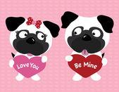 Valentine pugs holding hearts — Stock Vector