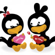 Valentine birds holding hearts — Stockvectorbeeld