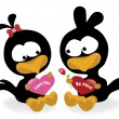 Valentine birds holding hearts - Stock Vector