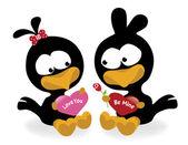 Valentine birds holding hearts — Stock Vector