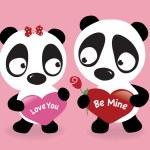 Valentine Pandas holding hearts — Stock Vector