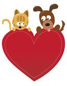 Dog and cat valentine