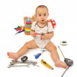 Little boy with tools — Stock Photo
