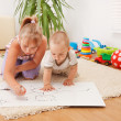 Children drawing in room — Stock Photo