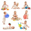 Royalty-Free Stock Photo: Collage of a little boy playing