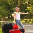 Young hitch-hiker girl — Stock Photo #4011873