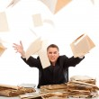 Man throwing away paperwork — Stock Photo #4012031