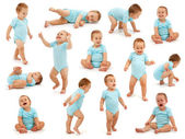Collection of a baby boy's behavior — Stockfoto