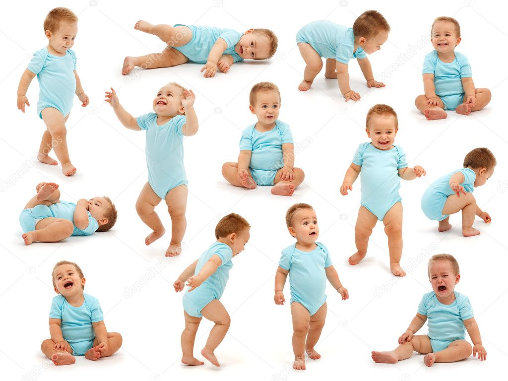 Collection of various situations of a baby boy's behavior. Isolated on white — Stock fotografie #4011623