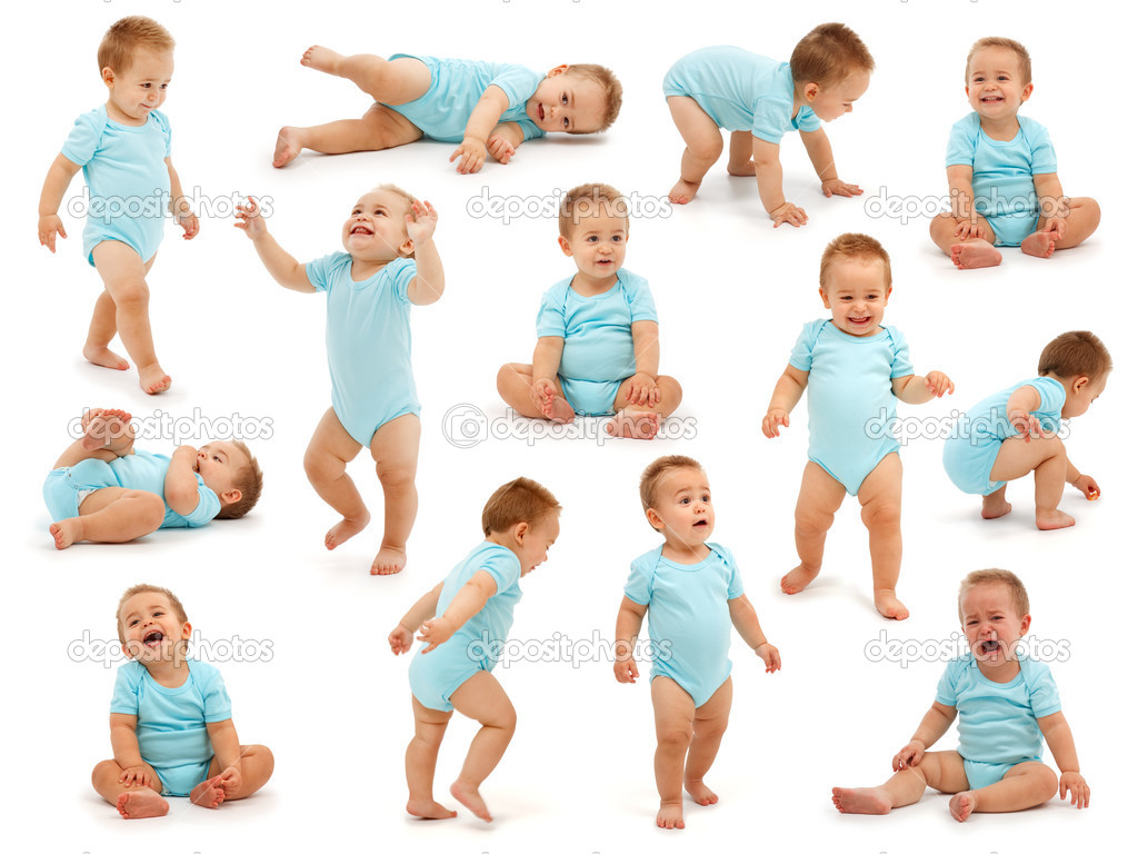 Collection of various situations of a baby boy's behavior. Isolated on white  Foto de Stock   #4011623