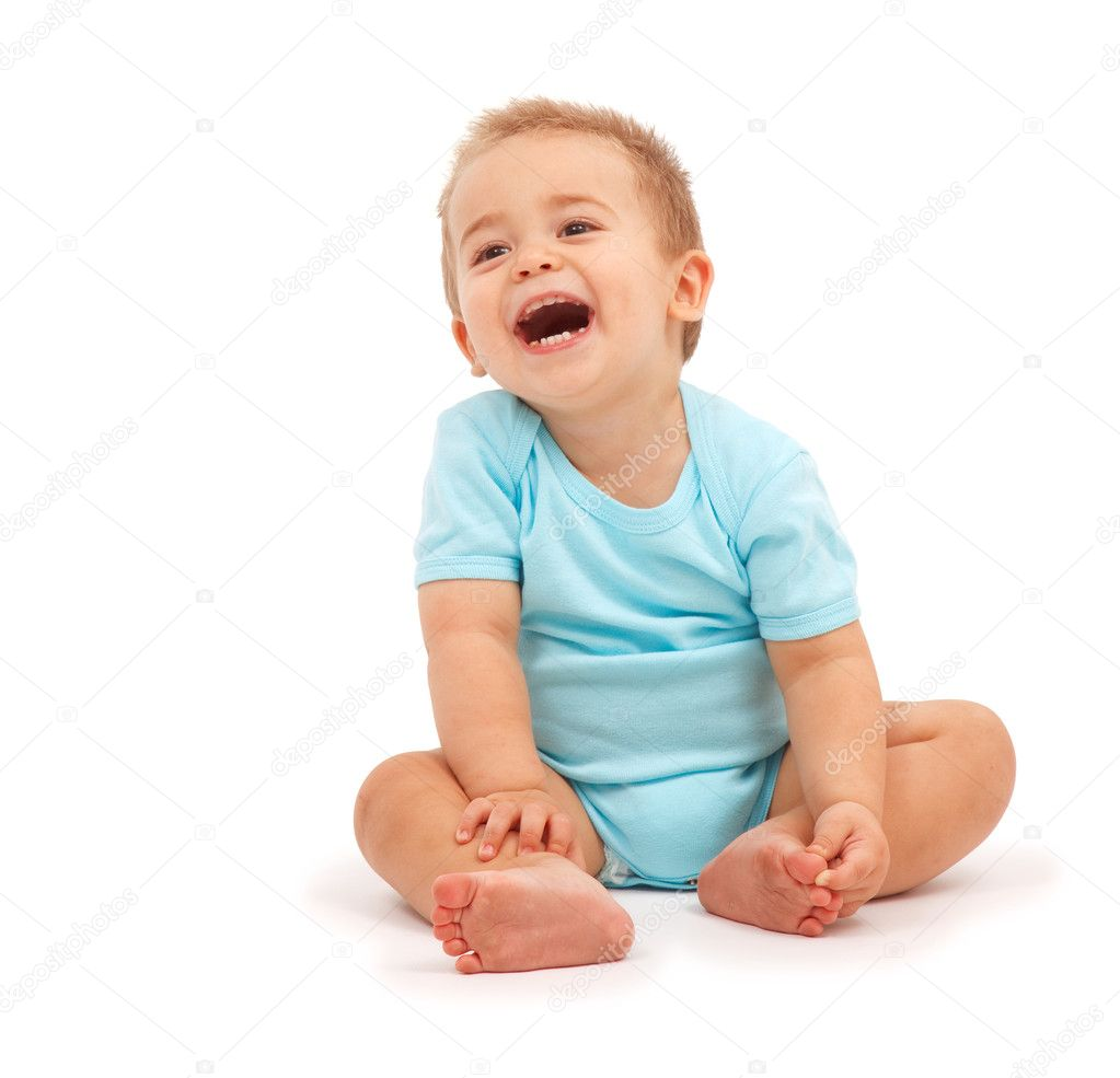 Happy baby boy sitting and laughing — Stock Photo #4011636